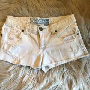 Roxy off-white short cut-off jean shorts